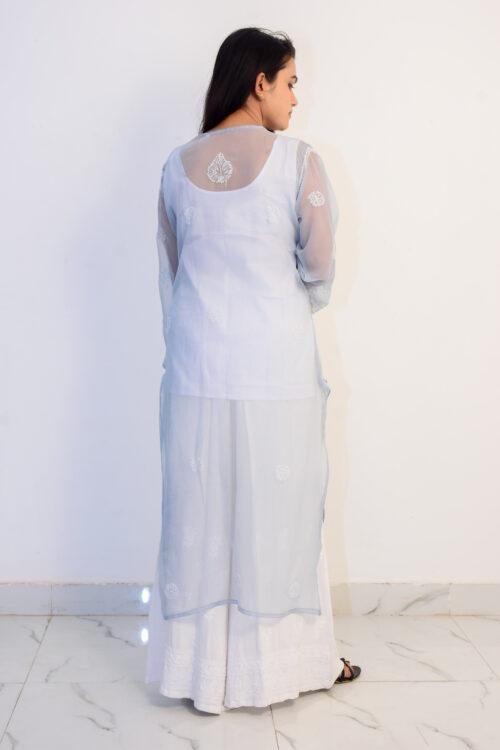 Chikan Grey Georgette Kurti