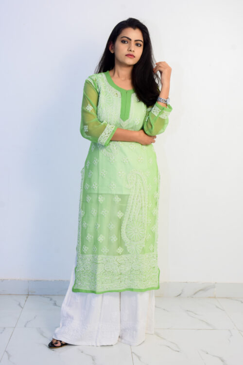 Light Green and White Georgette Kurti