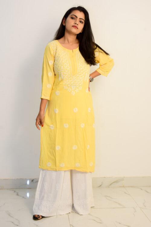 Chikan Yellow Silk Kurti