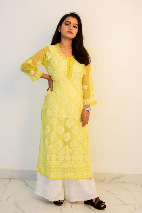 Chikan Yellow Georgette Kurti