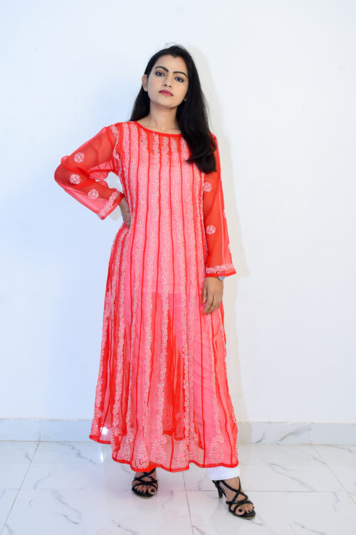 Red and White Georgette Kurti