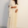Cream Aari Design kurti