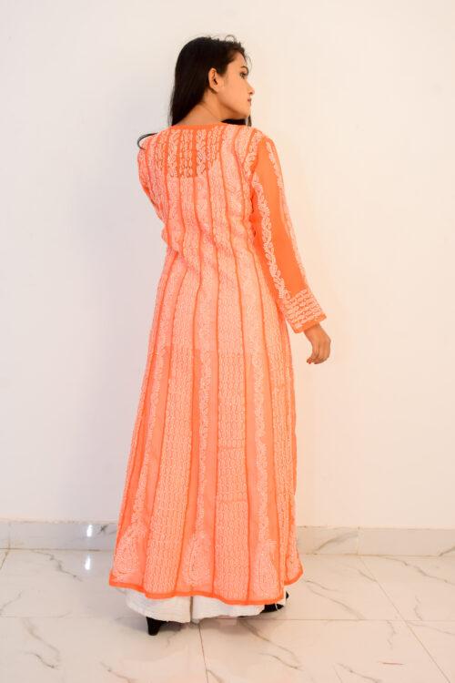 Orange and White Georgette Kurti