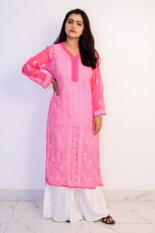 Chikan Pink Georgette Kurti